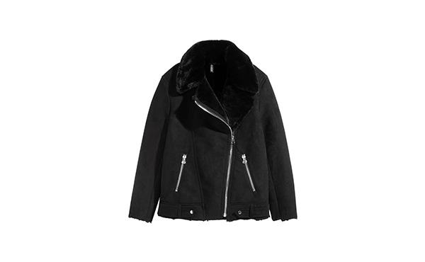 hm biker faux fur jacket