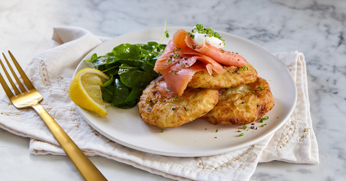 Mashed Potato Fritters with Smoked Salmon and Chives