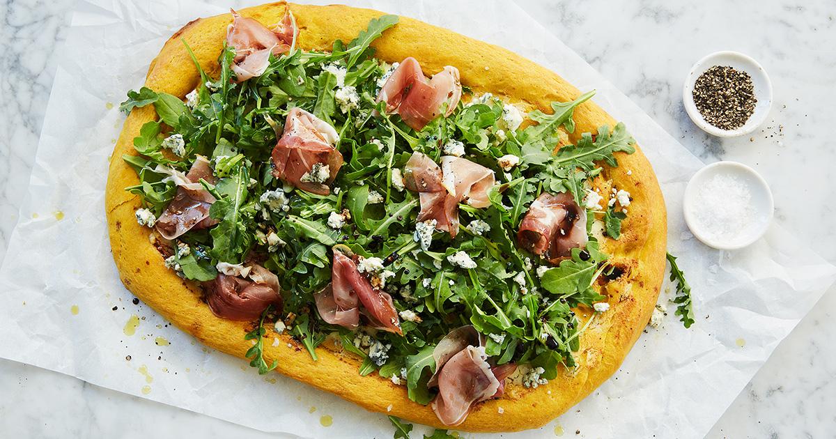 Pumpkin Pizza Crust with Arugula and Prosciutto