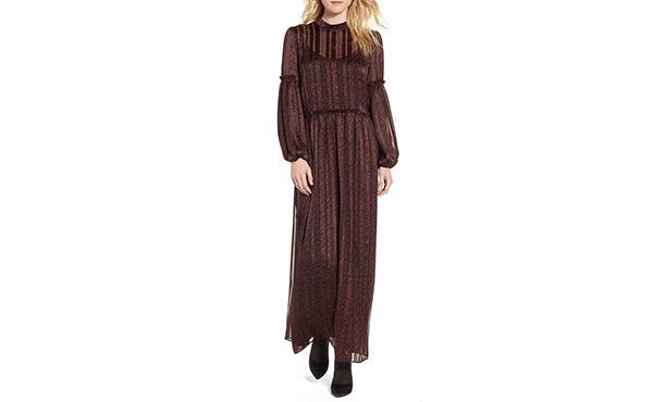 Hinge Maxi Shimmer Dress