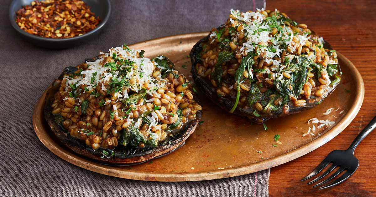 Portobello Mushrooms Stuffed with Barley Risotto