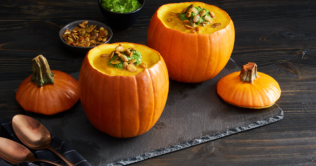 Pumpkin Soup in Mini Pumpkin Bowls