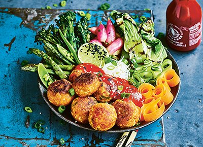 Vegan Sriracha 'Meatballs' with Noodles and Grilled Vegetables