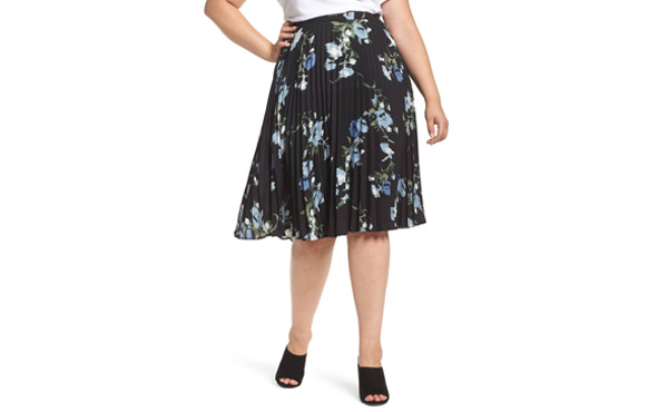 Vince Camuto pleated floral skirt