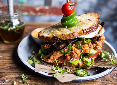 Fried Chicken BLT with Jalapeño Honey
