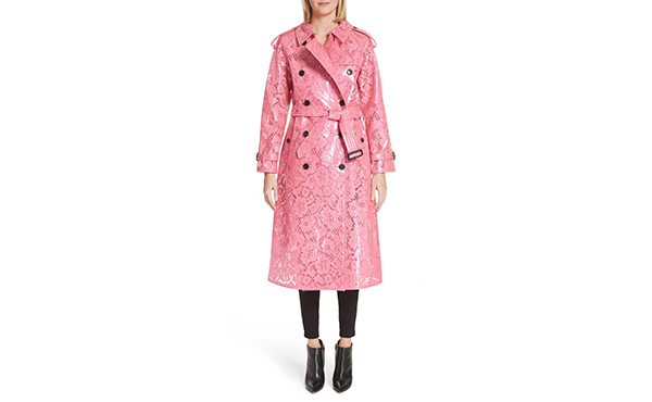 Burberry Pink Lace Trench Coat