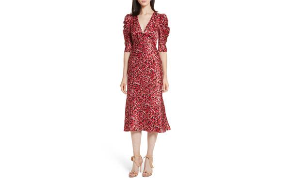 Saloni Pouf Sleeve Dress