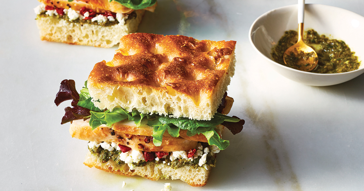 Chicken Pesto Focaccia Sandwiches Recipe Purewow