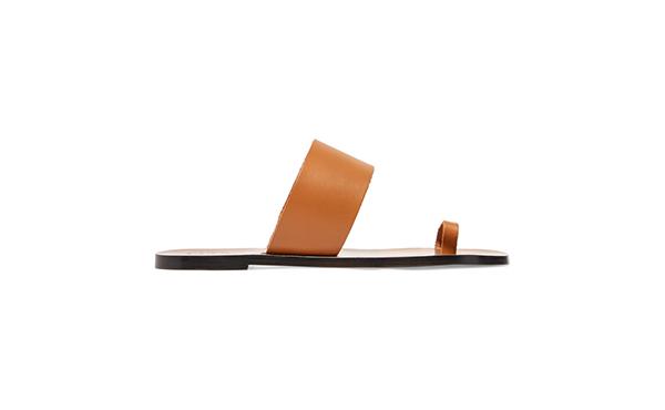 ATP Atelier Brown Leather Slides