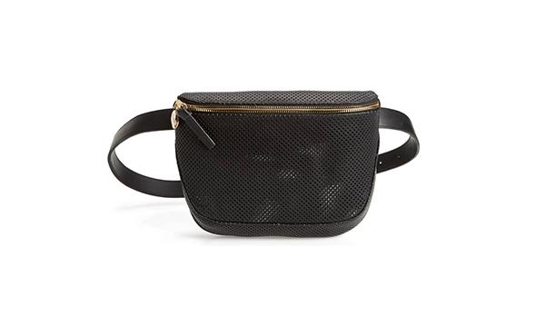 Clare V black leather belt bag