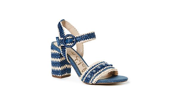 Sam Edelman Blue Straw Sandals