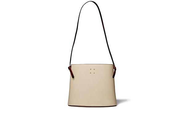 Trademark white bucket bag