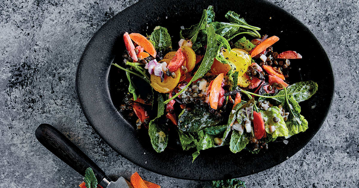 Lemon-Tahini Salad with Lentils, Beets and Carrots