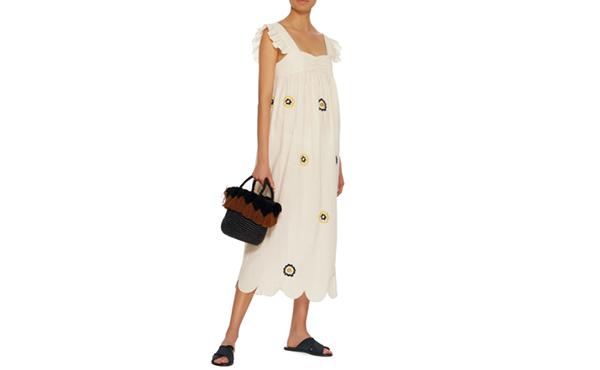 Alexa Chung midi embroidered dress
