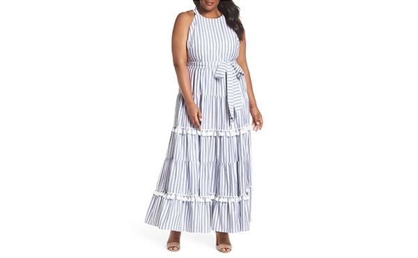 Eliza J nautical striped midi dress