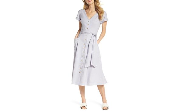 Gal Meets Glam linen lilac dress