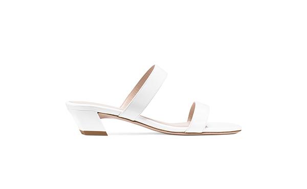 Stuart Weitzman white slides