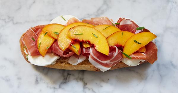 Grilled Peach, Prosciutto and Mozzarella Sandwich
