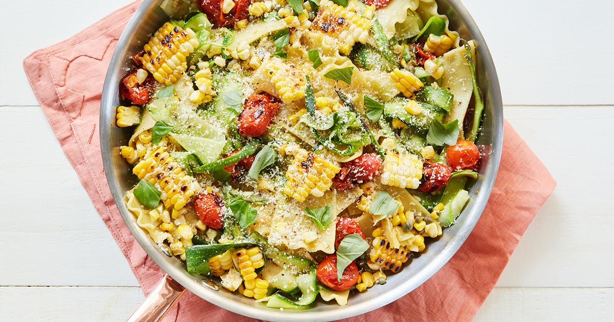 Cheater's Skillet Lasagna with Corn and Cherry Tomatoes