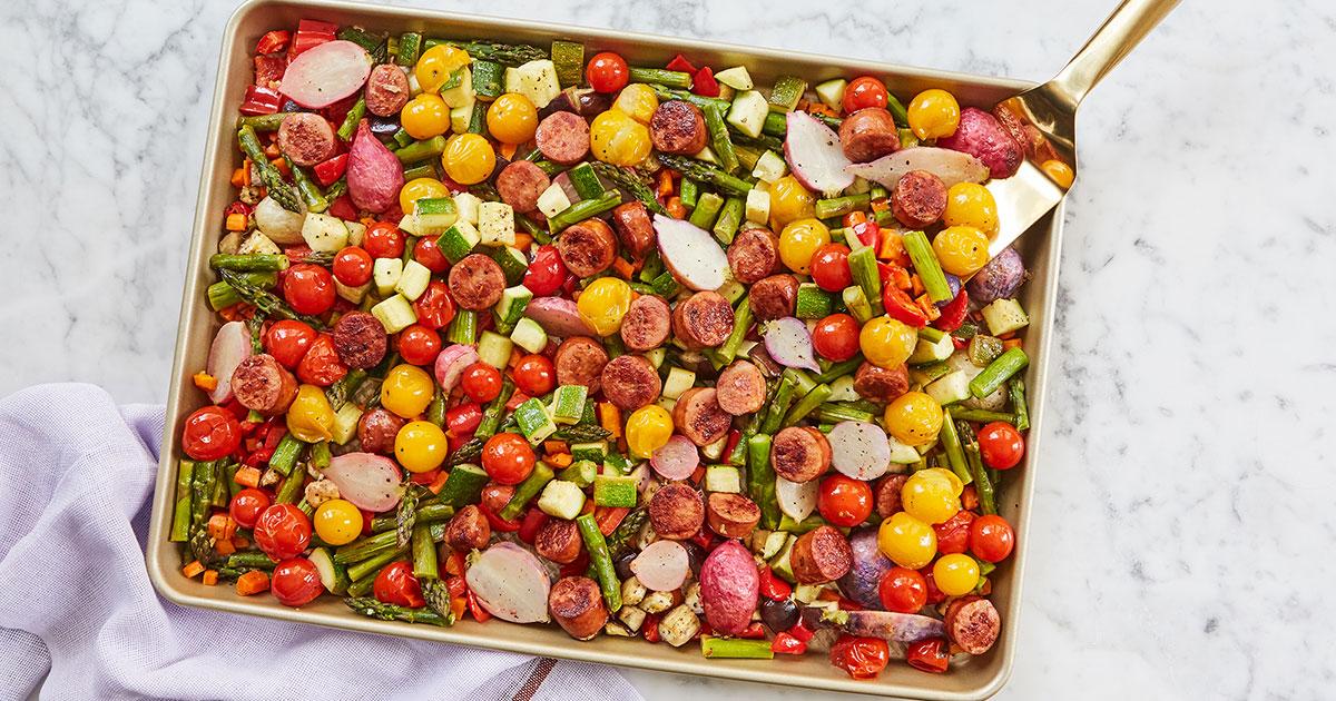 Sheet-Pan Lemon Butter Veggies and Sausage