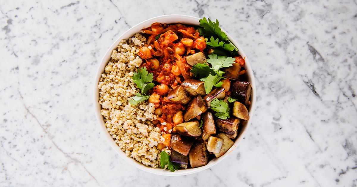 Harissa Chickpea Stew with Eggplant and Millet