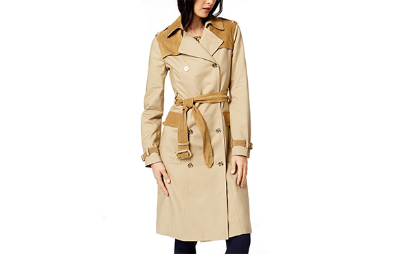 contrast suede trench