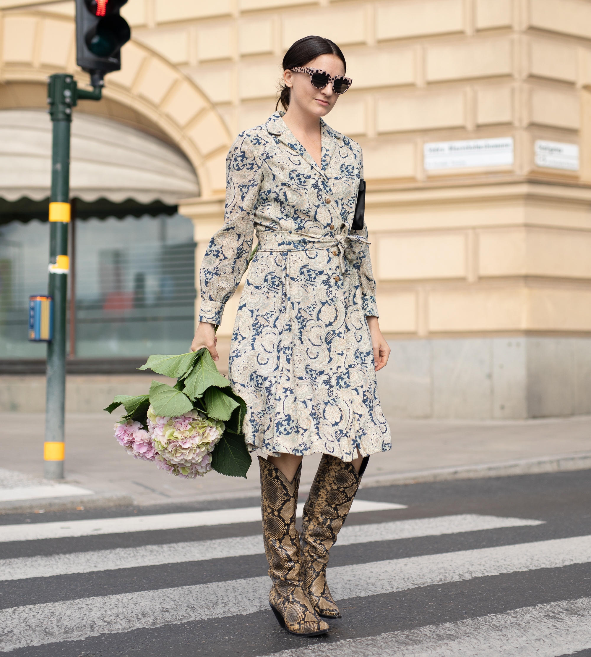 long dress with boots