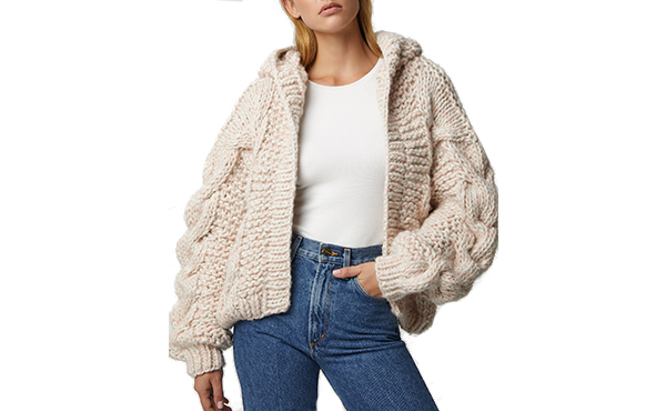 cable knit bomber