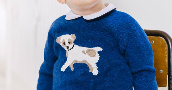 The Royal Blue Puppy Sweater Worn By Prince Louis In His First Birthday Portraits Is Still Available to Buy