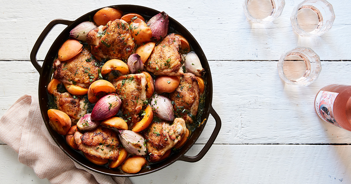 Skillet Chicken with Apricots and Fresh Herbs