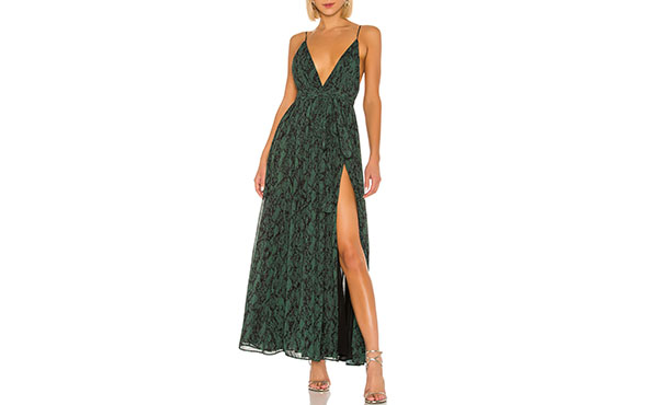 green snake print gown