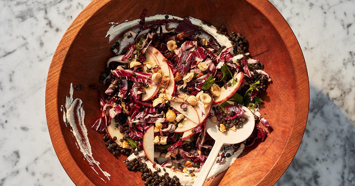 Radicchio, Lentil and Apple Salad with Vegan Cashew Dressing