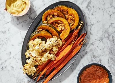 Roasted Winter Vegetable Platter with Miso Aioli and Romesco Sauce