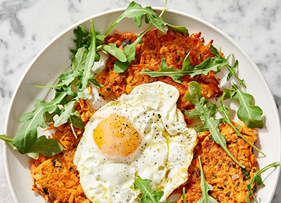 Sweet Potato Rösti with Fried Eggs and Greens