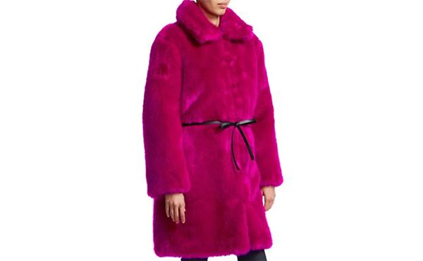 magenta faux fur coat