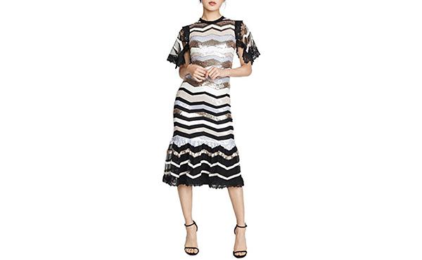 sequin stripe dress