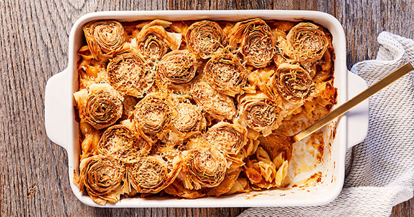 Mac and Cheese with Crispy Parmesan-Phyllo Crust