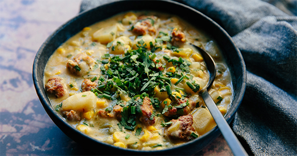 Sausage, Corn and Poblano Chowder