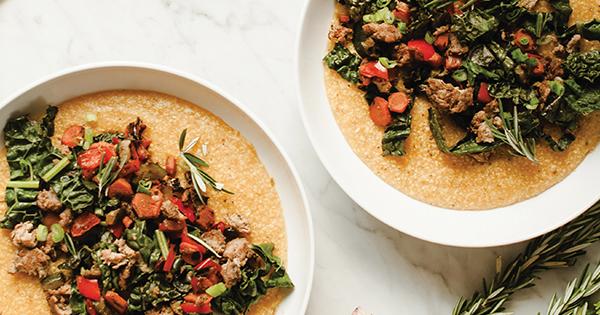 Turkey Sausage and Veggie Polenta Bowls