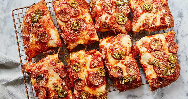 Cheater's Sicilian-Style Pizza with Jalapeños and Honey