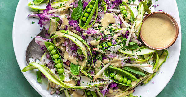 Shaved Spring Vegetable and Apple Salad with Ginger-Dijon Dressing