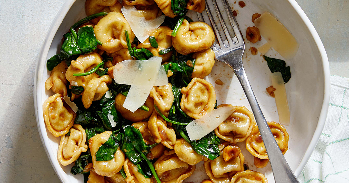 Balsamic Brown Butter Tortellini with Spinach and Hazelnuts