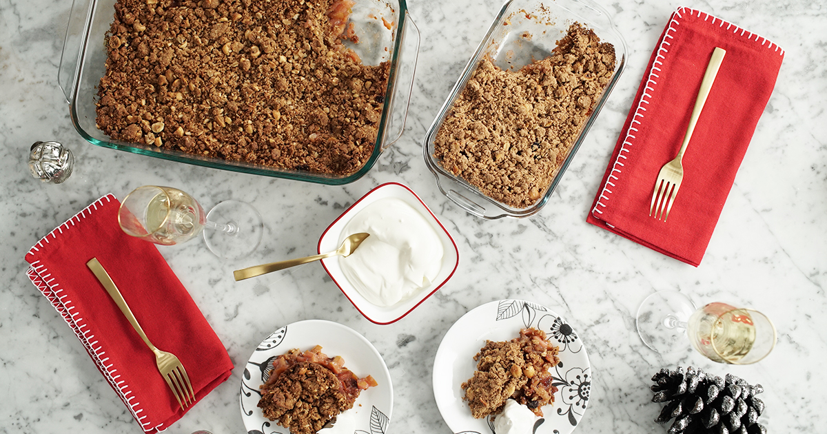 Gingerbread Pear Crumble with Boozy Whipped Cream