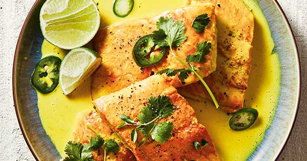 Instant Pot Coconut Salmon with Fresh Herbs and Lime