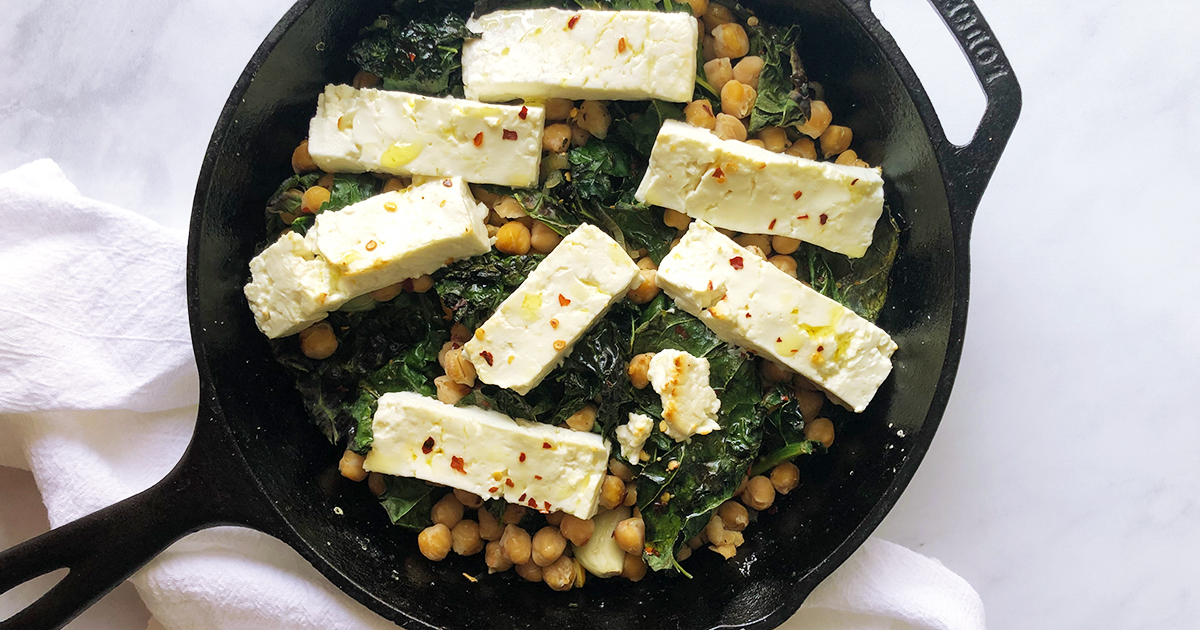 Baked Feta with Garlicky Kale and Chickpeas
