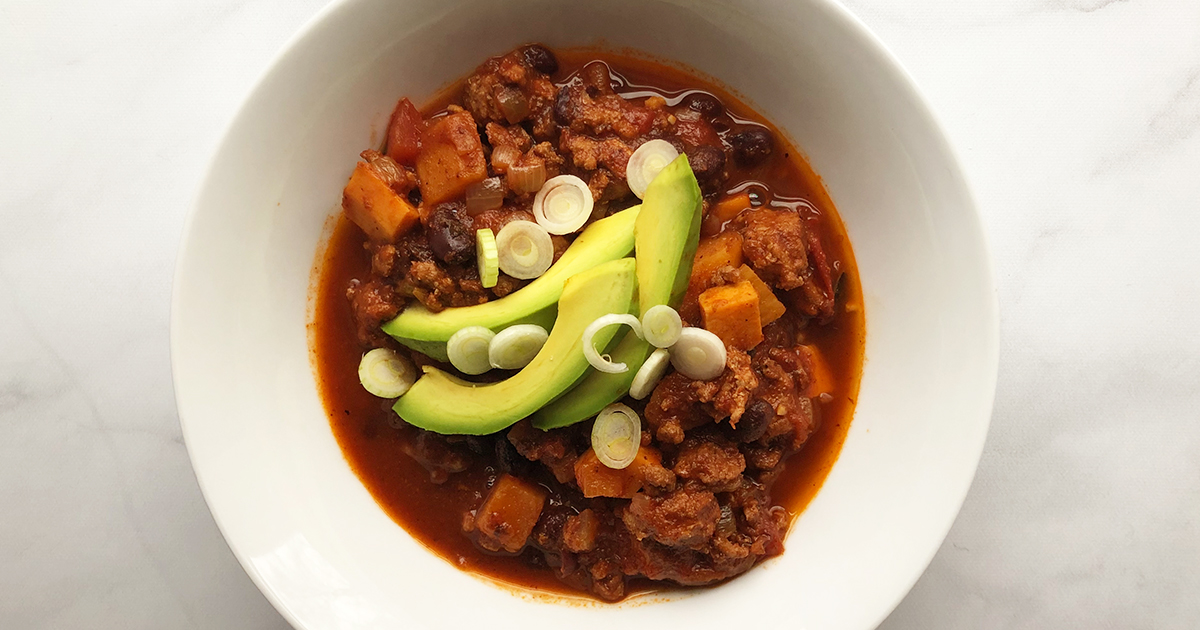 Sweet Potato Chili with Turkey and Black Beans