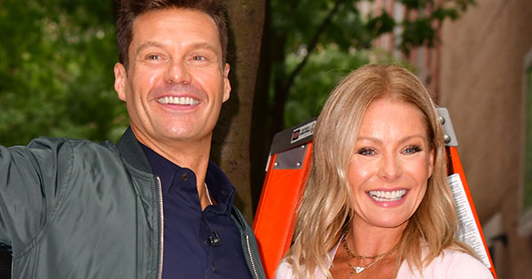 Kelly Ripa & Ryan Seacrest Went for Matching Black V-Cut Outfits on 'Live' Today